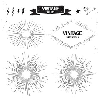 Satz vintage sun burst. monochrome lichtstrahlen