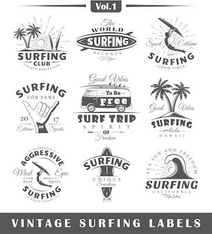 Satz vintage surf-logos.