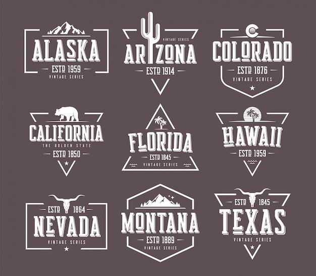 Satz vintage-t-shirt- und bekleidungsdesigns der us-staaten, abzeichen
