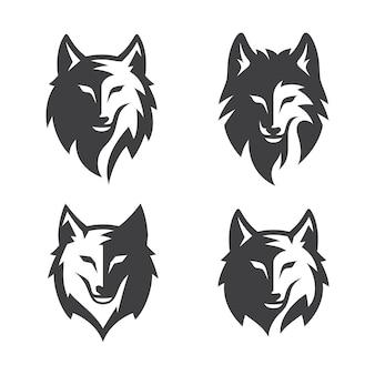 Satz vintage wild wolf silhouette lokalisiert auf weiß