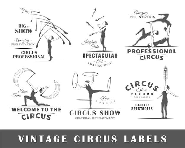Satz vintage zirkusetiketten