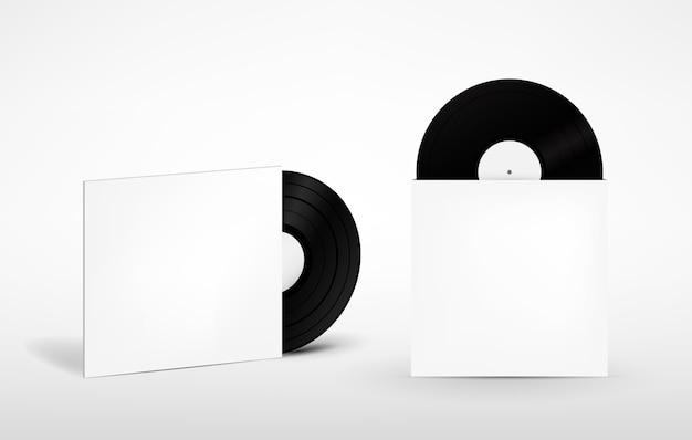 Satz vinylaufzeichnung und umschlag für platte. retro-tonträger. attrappe, lehrmodell, simulation. isometrische ansicht. vektor-illustration.