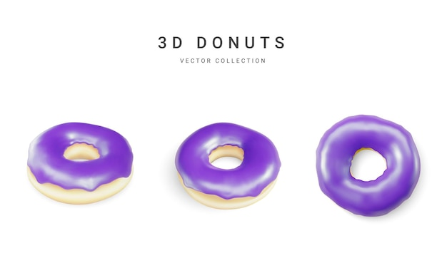 Satz violette donuts isoliert auf weißem hintergrund. sammlung von bunten donuts. verschiedene glasierte donuts. vektor-illustration.