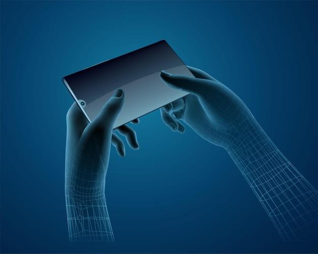 Satz virtueller hände, die ein mobiltelefon halten, leicht austauschbares modell und bildschirminhalt