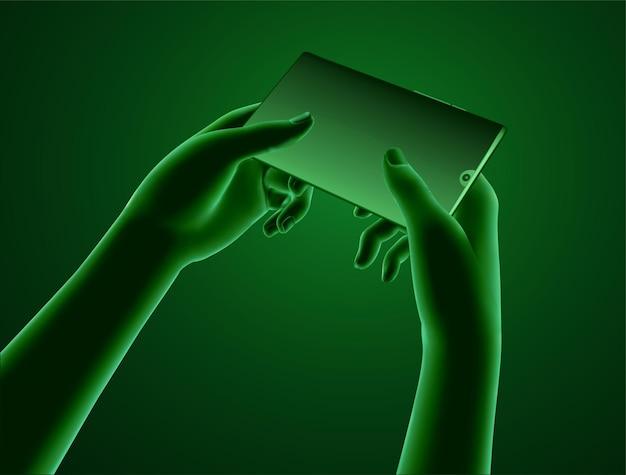 Satz virtueller hände, die ein mobiltelefon halten