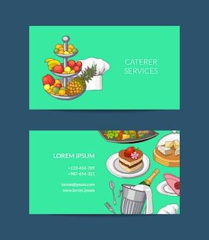 Satz visitenkartenvorlage für restaurant oder caterer handgezeichnete restaurant- oder zimmerservice-elementillustration