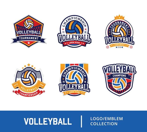 Satz volleyballausweis-designlogoemblem