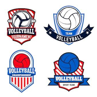 Satz volleyballetiketten und -logos für volleyballmannschaften, turniere, meisterschaften auf weißem hintergrund. illustration.