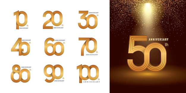 Satz von 10 bis 100 jubiläumslogotypentwurf, jahre feiern jubiläumslogo