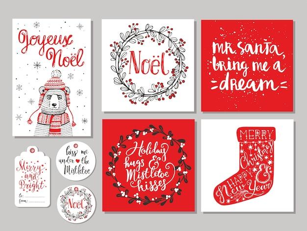 Satz von 10 kreativen weihnachtshand gezeichneten geschenkanhänger. tasse heiße schokolade, weihnachtssocke