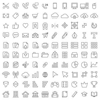 Satz von 100 grundlegenden ui-ux symbol asset