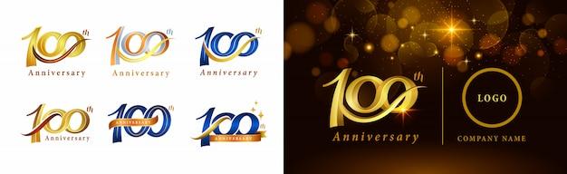 Satz von 100-jährigem jubiläumslogotypentwurf, hundert jahre, die jubiläumslogo feiern