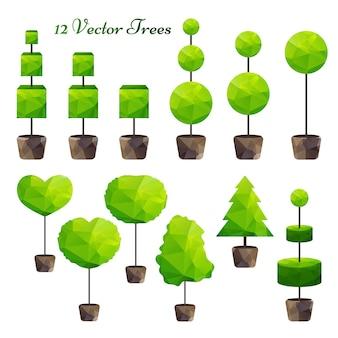 Satz von 12 grünen polygonalen bäumen
