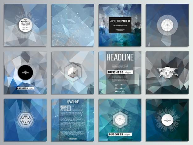 Satz von 12 kreativen karten, quadratisches broschürenschablonendesign.