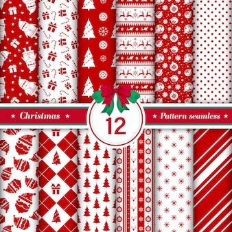 Satz von 12 mustern der frohen weihnachten nahtlos.