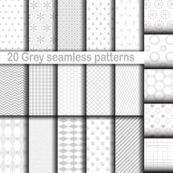 Satz von 20 grauen nahtlosen mustern