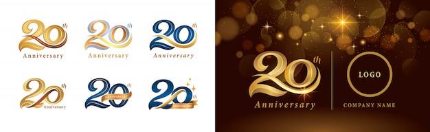 Satz von 20-jährigem jubiläumslogotypentwurf, 20 jahre, die jubiläumslogo feiern
