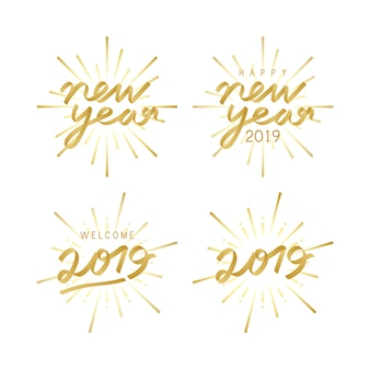 Satz von 2019 feierabzeichenvektoren des neuen jahres