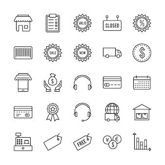 Satz von 25 e-commerce-ikonen