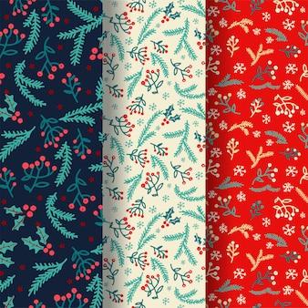 Satz von 3 nahtlosen mustern des winters mit dekorativen winterelementen.