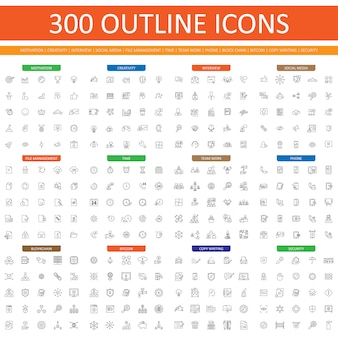 Satz von 300 gliederungssymbolgebrauch für website und app