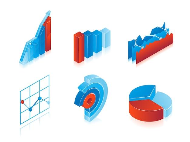 Satz von 3d-vektordiagrammen in blau und rot: analytische kreisdiagramme, diagramme und balkendiagramme zur verwendung als gestaltungselemente in inforgraphics