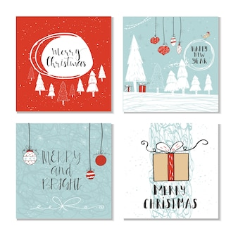 Satz von 4 niedlichen weihnachtsgeschenkkarten mit zitat