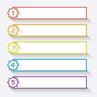 Satz von 5 nummerierten papierkopfzeilen mit stern