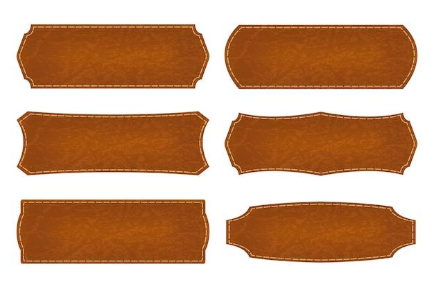 Satz von 6 formen lederschild etiketten