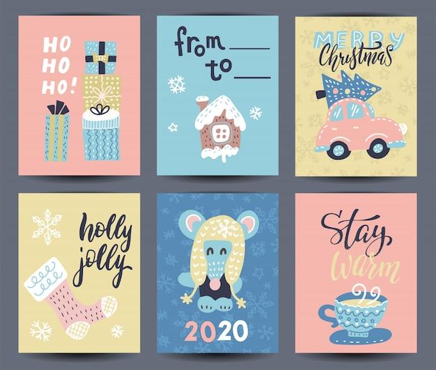 Satz von 6 niedlichen grußkarten und von hand gezeichneter weihnachtsbeschriftung, -charakteren und -dekorationen.