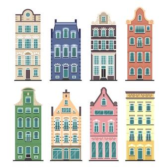 Satz von 8 amsterdamer alten häusern karikaturfassaden. traditionelle architektur der niederlande.
