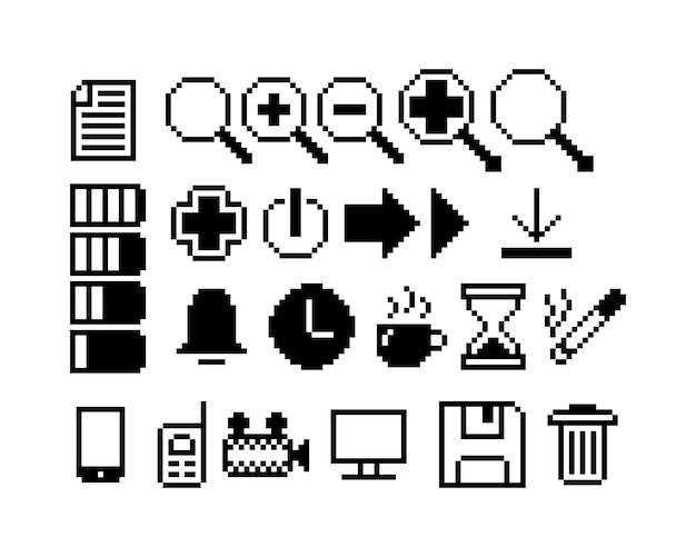 Satz von 8-bit-pixel-grafiksymbolen isolierte vektorillustration game art schwarz-weiß-bild
