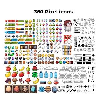 Satz von 8-bit-pixel-grafiksymbolen isolierte vektorillustration spielkunst waffen schmucktränke