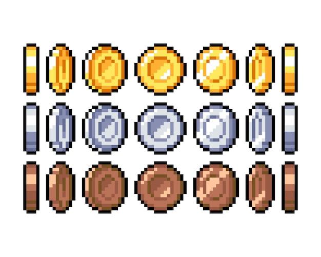 Satz von 8-bit-pixel-grafiksymbolen isolierte vektorillustration spielkunstmünzen goldsilber-bronze