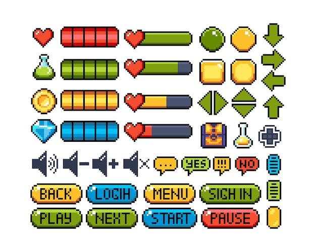Satz von 8-bit-pixel-grafiksymbolen isolierte vektorillustration spielschnittstellen-tastennavigation