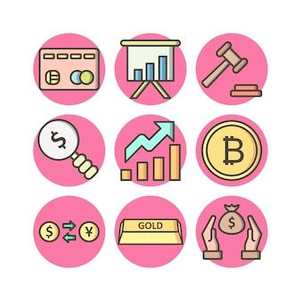 Satz von 9 bankwesen ikonen auf weißen vektor lokalisierten elementen