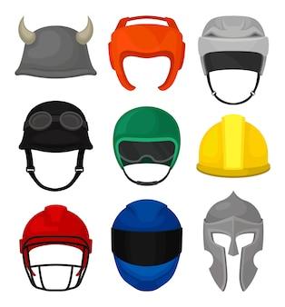Satz von 9 helmen. kopfschutz für ritter, baumeister, motorradfahrer, boxer, fußball- und hockeyspieler