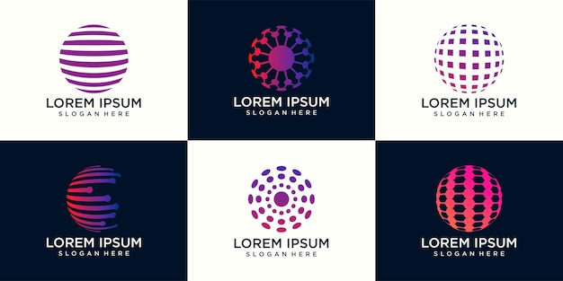 Satz von abstraktem vektorlogo in kugelform und logo für unternehmen, globale technologie.