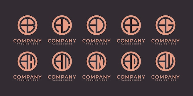 Satz von abstrakten anfangsbuchstaben eine logo-design-vorlage. symbole für das geschäft mit luxus, elegant, einfach.
