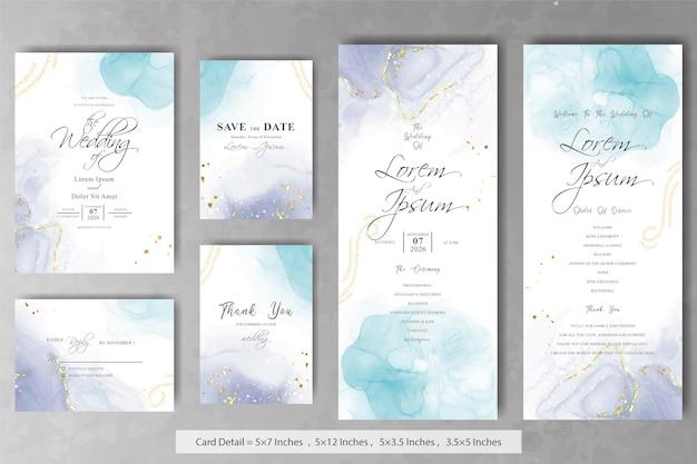 Satz von abstrakten hochzeitseinladungskarten-vorlage mit alkoholtinte-hintergrund