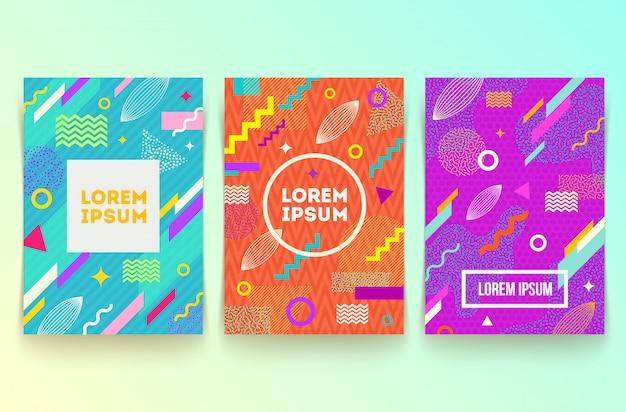 Satz von abstrakten memphis-stil retro-hintergrund mit mehrfarbigen einfachen geometrischen formen.