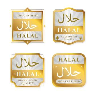 Satz von abzeichen / etiketten für halal in flache bauform