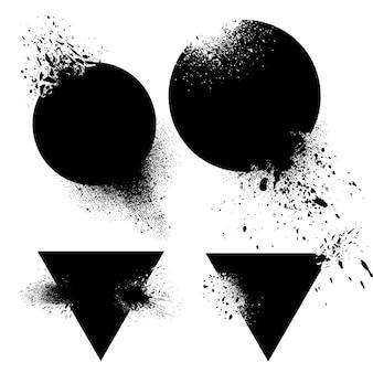 Satz von abzeichen mit tinte spritzt vektor