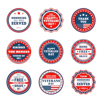 Satz von abzeichen zum veterans day in amerika