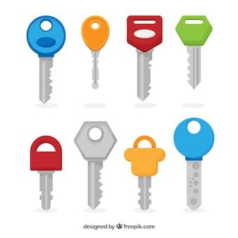 Satz von acht bunten schlüsseln