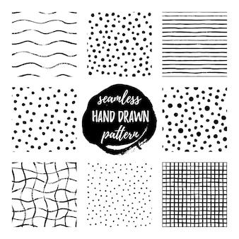 Satz von acht hand zeichnen muster schwarz weiß. nahtloses muster der vektorbeschaffenheit von punkten, tupfen, gitter, streifen und wellen. stilvolles vektordesign für stoff, tapete