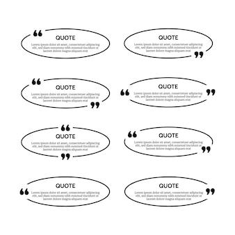 Satz von acht schwarzen ovalen zitatkastenrahmen lokalisiert auf weißem hintergrund. vektor-illustration