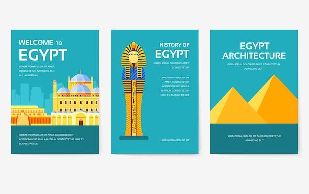 Satz von ägypten-landverzierungen-reisetourkonzept.