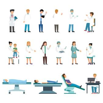 Satz von ärzten und krankenschwestern auf weiß isoliert