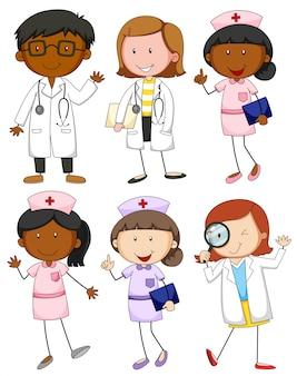 Satz von ärzten und krankenschwestern illustration